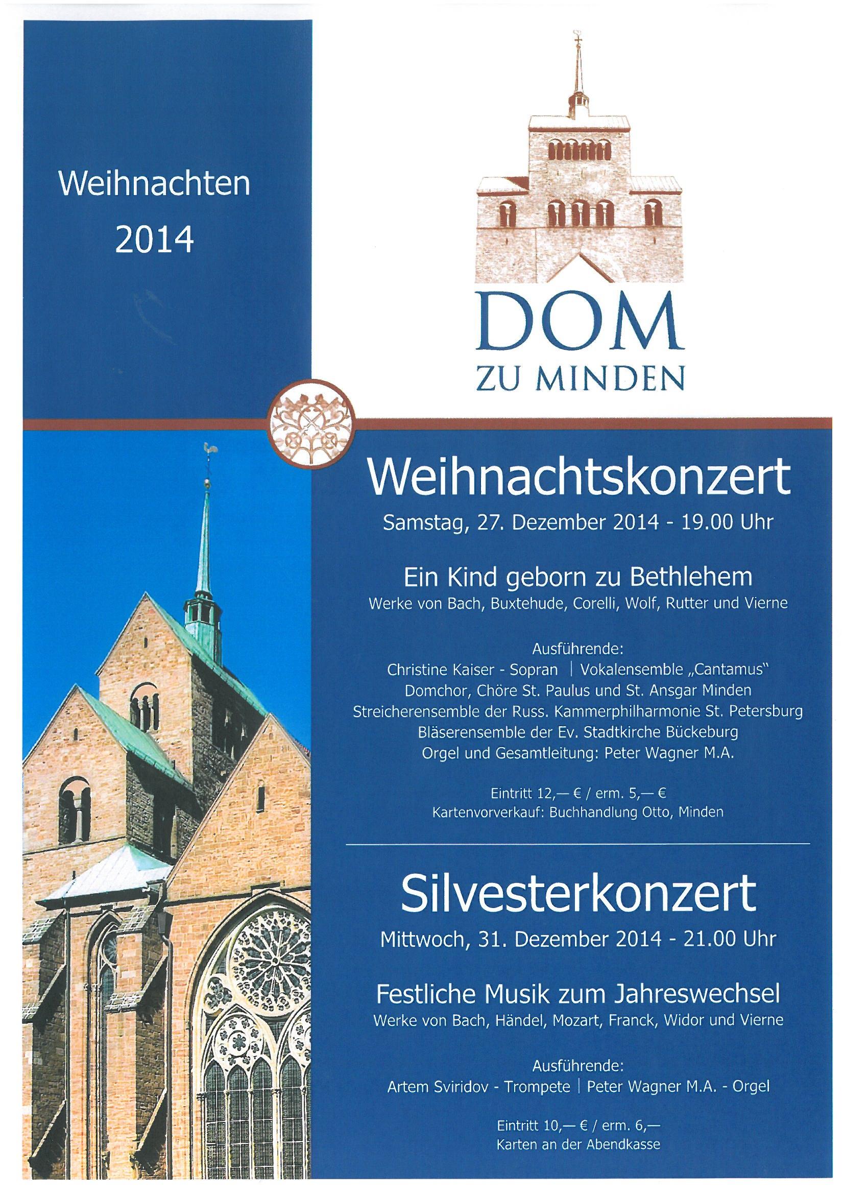 Weihnachtskonzert und Silvesterkonzert 2014