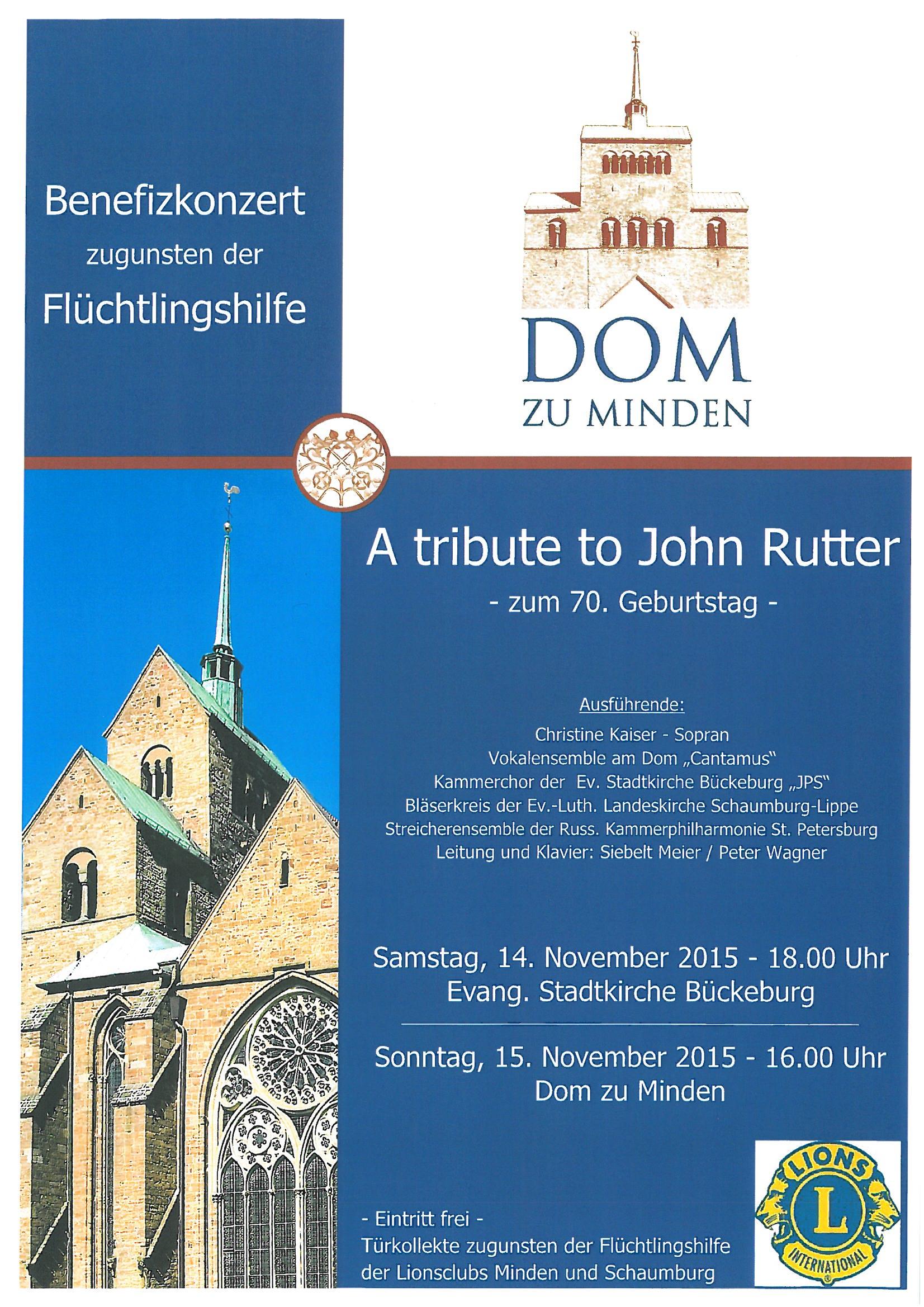 Benefizkonzert zugenden der Flüchtlingshilfe - A tribute to John Rutter