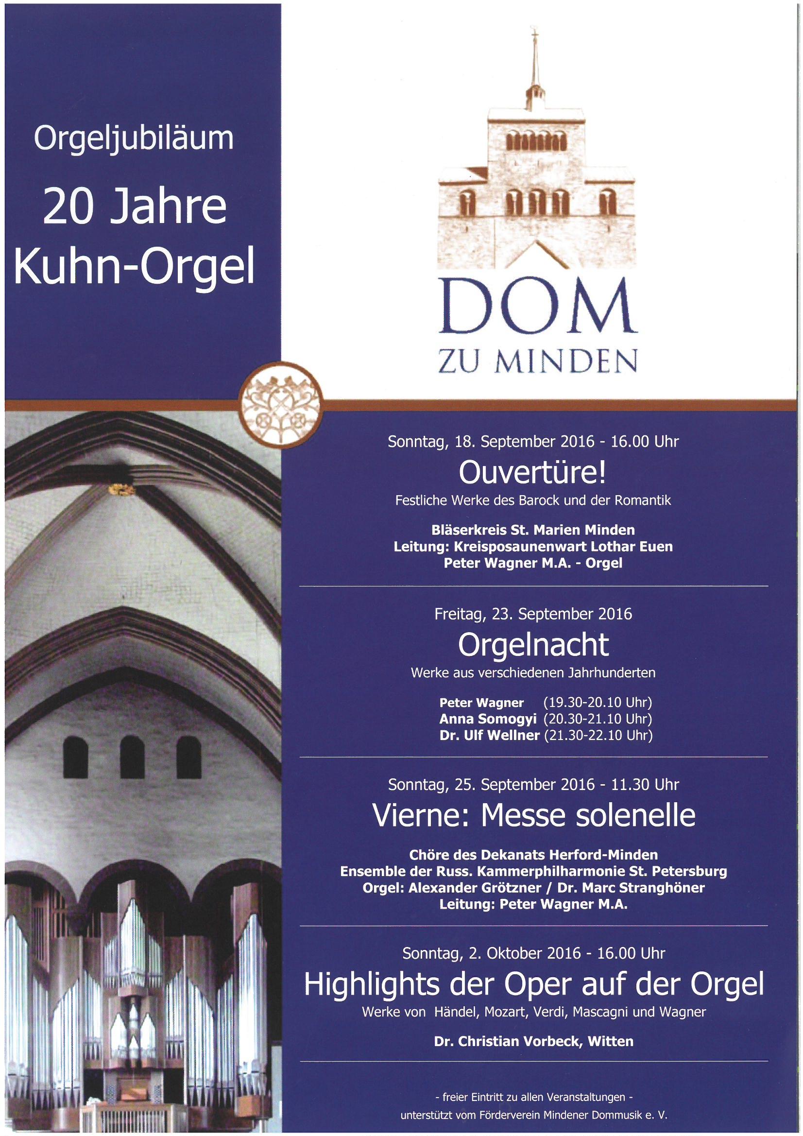 Orgeljubiläum 20 Jahre Kuhn-Orgel