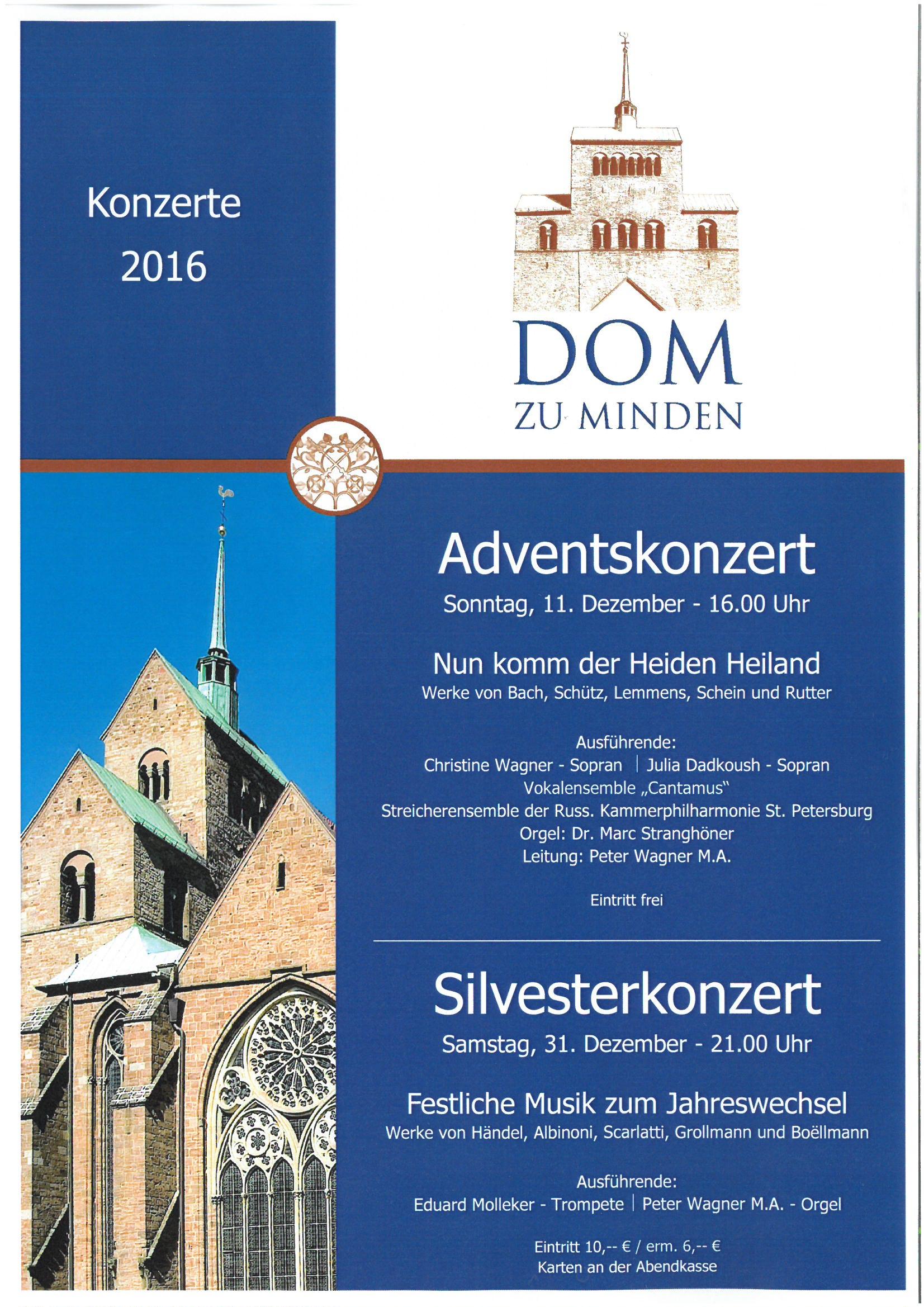 Adventskonzert am 11.12.2016 - Silvesterkonzert am 31.12.2016