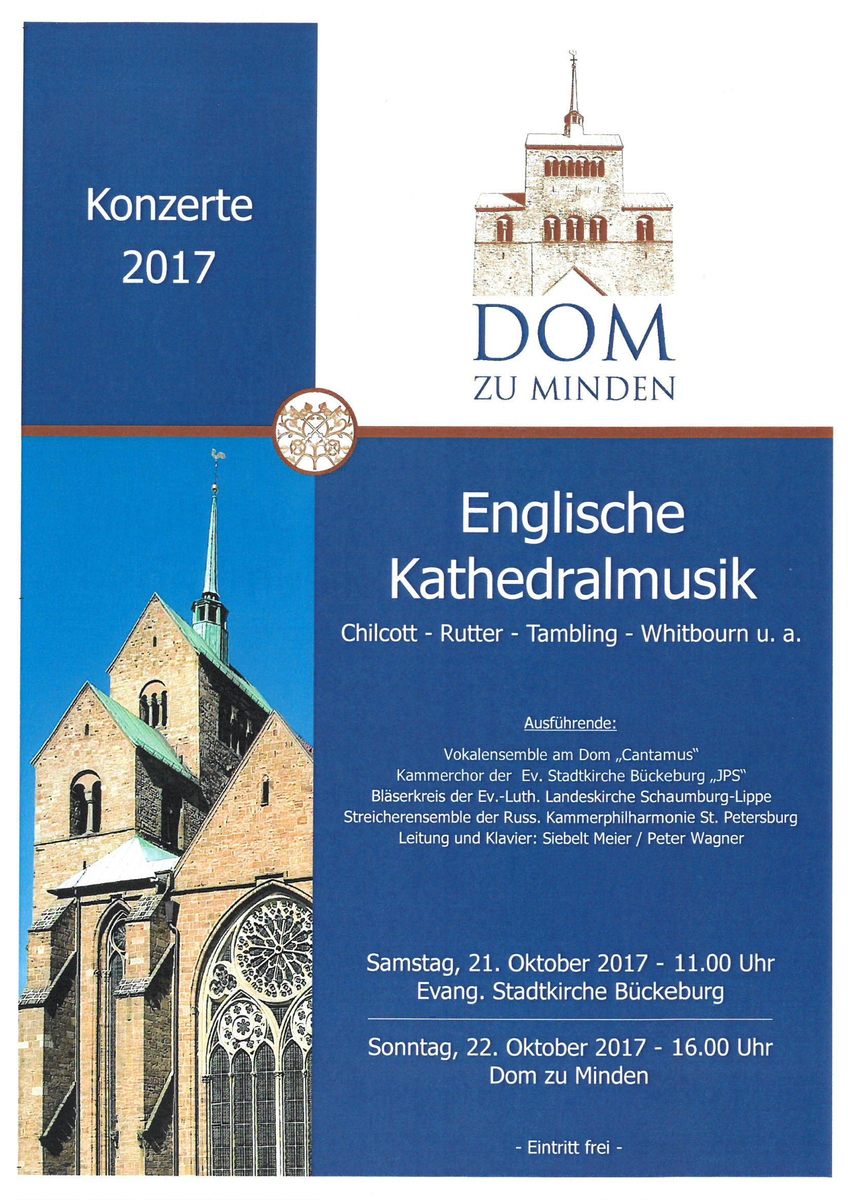 Englische Kathedralmusik am 22. Oktober 2017 um 16.00 Uhr