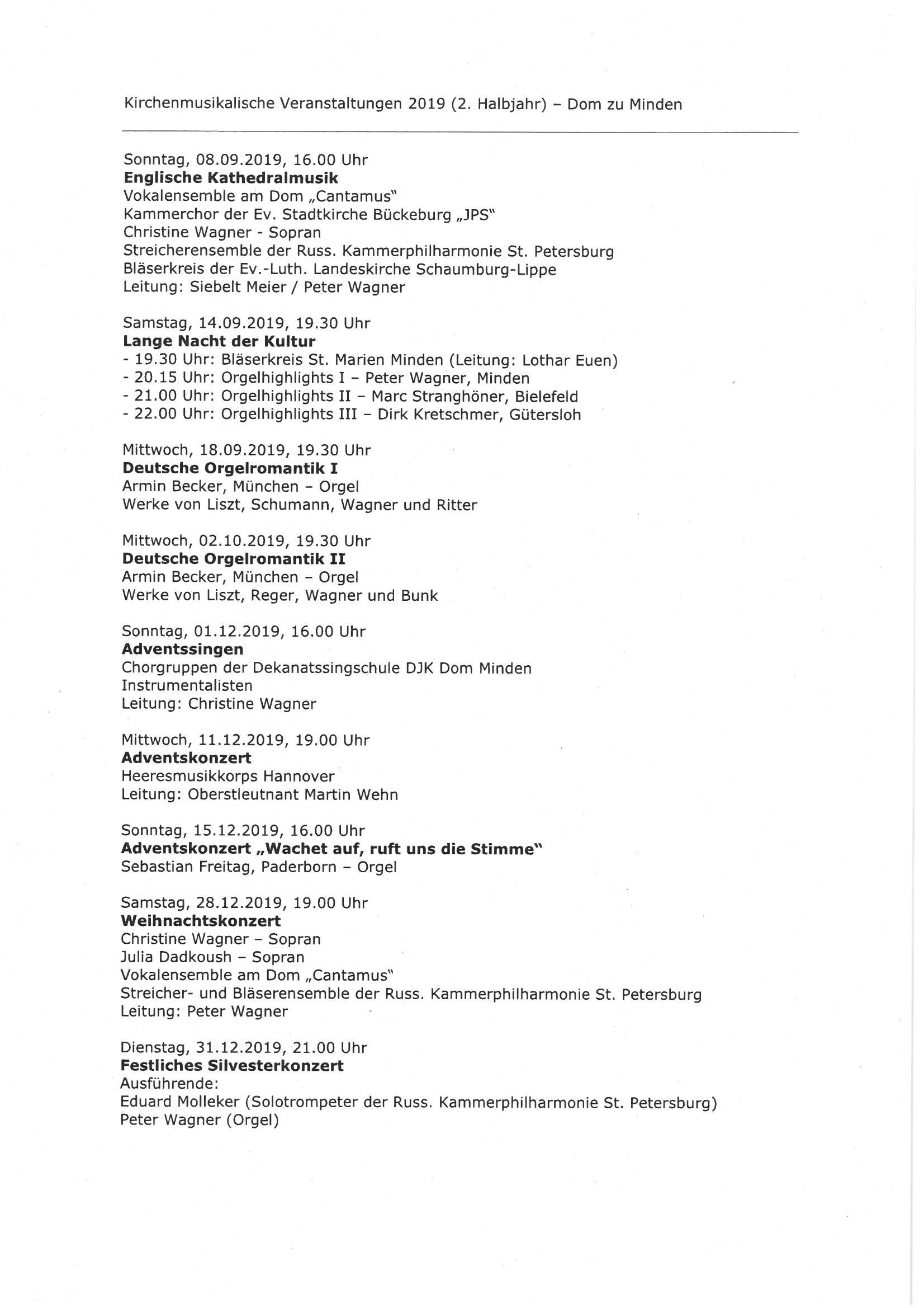 Kirchenmusikalische Veranstaltungen 2019 (2. Halbjahr)
